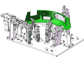 汽车防撞挡板焊接夹具_ZDFQ1003_3D图纸模型