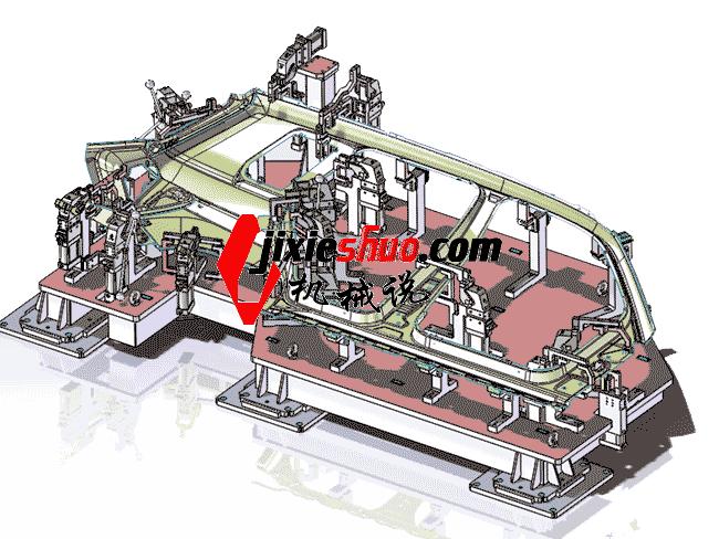 汽车侧围外板焊接工装夹具_ZDFQ1005_3D图纸模型