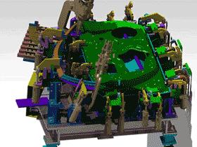 汽车左前车门总成焊装夹具_ZDFQ6005_3D图纸模型