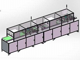 UV点胶固化机设备 显示屏自动点胶、UV固化流水线 SPAC2003 solidworks  3D图纸 三维模型