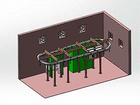 悬挂喷涂输送线3D图纸 SPAD2006 solidworks 3D图纸 三维模型