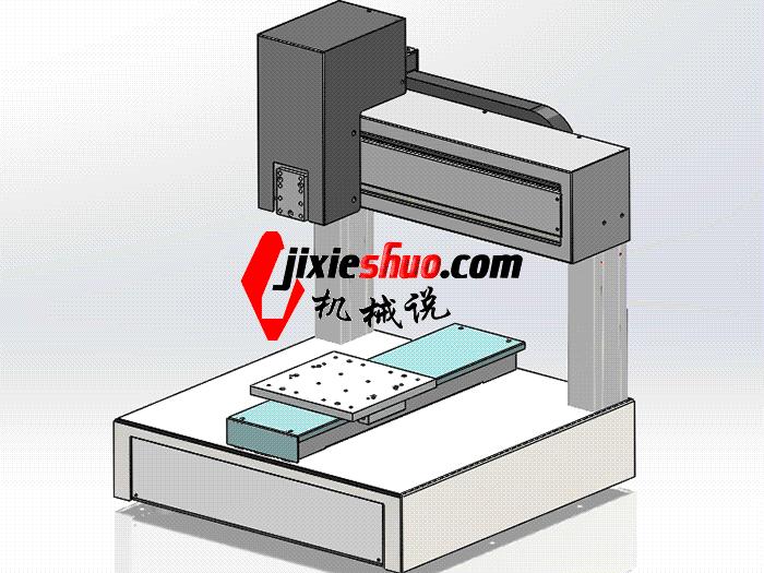 龙门桌面式三轴移动点胶机 SPAH2001 solidworks格式 3D图纸 三维模型