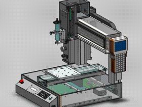 龙门式三轴进给工作台移动式点胶机  SPAH2007 solidworks格式 3D图纸 三维模型