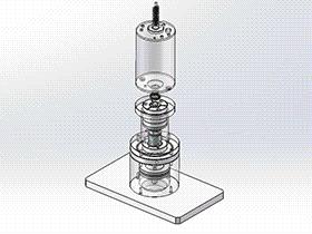 马达轴心刹車片涂油机构含涡杆轴心马达 SPAU1001 solidworks 3D图纸 三维模型