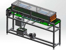 食品机械紫外消毒的输送机图纸 吹风吸尘输送带 SPJA2009 Solidworks 格式 3D图纸 三维模型