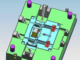 油缸抽芯 4面滑块 模具 SPMB1010 solidworks  3D图纸 三维模型