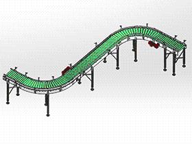 转角辊子输送机 SPSA1009 solidworks 3D图纸 三维模型