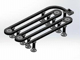 S型弯道瓶子输送机 SPSG1007 solidworks  3D图纸 三维模型