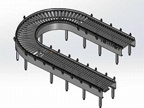 S型弯道瓶子输送机 SPSG1008 solidworks  3D图纸 三维模型
