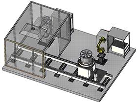 飞机轮毂机器人干冰自动流水线清洗工作站 SPWB1003 solidworks  3D图纸 三维模型