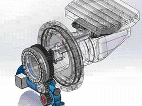 机床加工中心AC5轴回转台传动结构 TMNB1001 Solidworks格式 3D图纸 三维模型