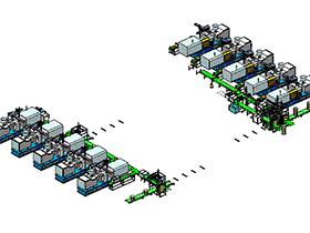 胶桶自动注塑生产流水线 zdem2009 solidworks格式 3D图纸 三维模型