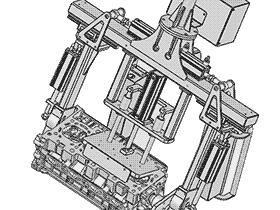 发动机缸体翻转工装夹具  ZDFB1002 solidworks  3D图纸 三维模型