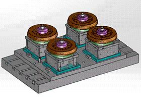 4工位钻孔涨盘工装夹具 zdfg2002 solidworks 3D图纸 三维模型