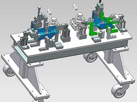 汽车钣金壳焊接夹具 ZDFQ1021 solidworks 3D图纸 三维模型