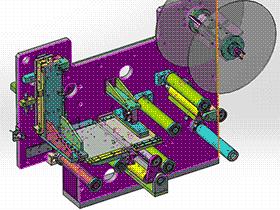 自动贴标机构3D图纸 H328 非标自动化设备3D图纸3D模型 T91 ZDTB2034