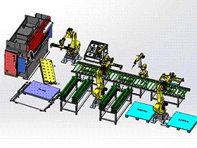 机器人生产线门板线折弯焊接生产线 zdwi2007 solidworks 3D图纸 三维模型